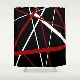 Red and White Stripes on A Black Background Shower Curtain
