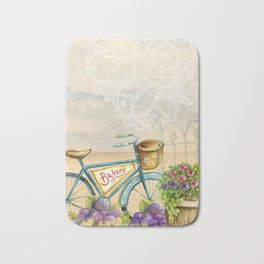 Old bike and flowers watercolor painting Bath Mat