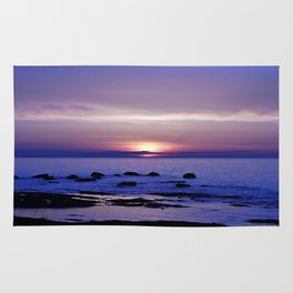 Blue and Purple Sunset on the Sea Rug