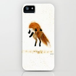 Fox Hop - animal watercolor painting iPhone Case