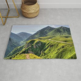 Mountains, green, gigantic, steep and rolling Rug