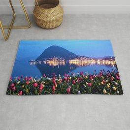 Tulips - Lake Lugano, Switzerland Landscape Photograph Rug