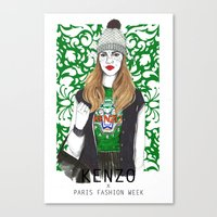 kenzo Canvas Prints featuring Kenzo Girl by Natalia Madej