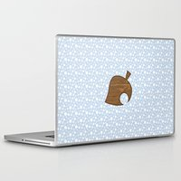 animal crossing Laptop & iPad Skins featuring Animal Crossing Winter Leaf by Rebekhaart