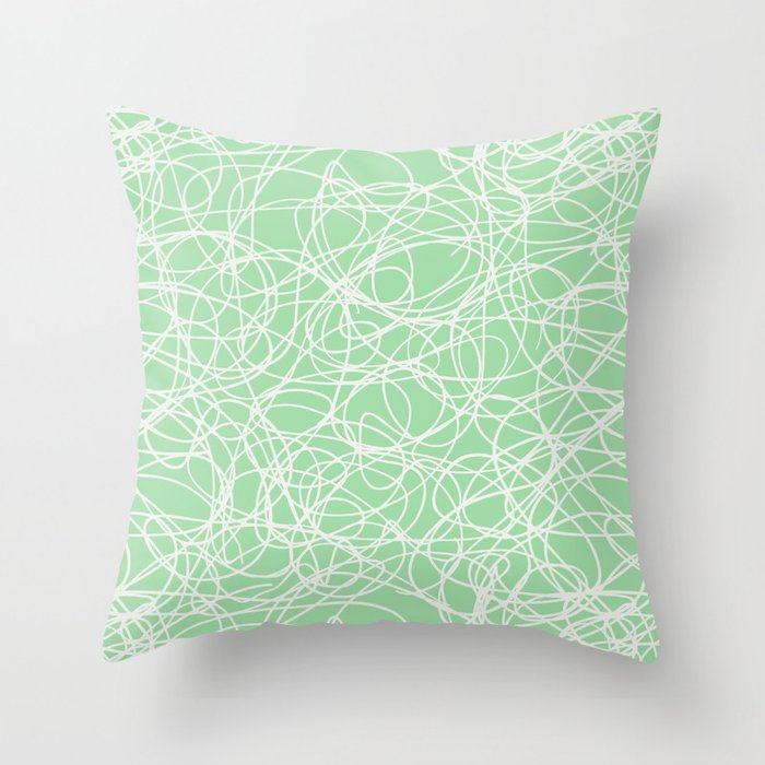 Linen White Thick Scribble Mosaic Pattern on Pastel Mint Green Pairs to 2020 Color of the Year Throw Pillow
