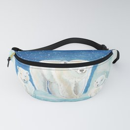 Mother Polar Bear with two Cubs in Snow & Ice Fanny Pack