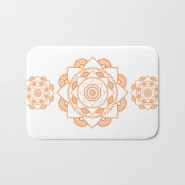 Mandala 01 - Orange on White Bath Mat