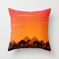 camel Throw Pillows featuring Camel by aleksander1