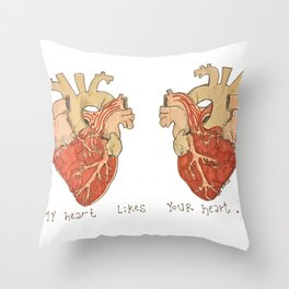 My Heart Likes Your Heart Throw Pillow