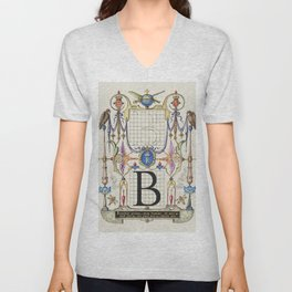 Guide for Constructing the Letter B from Mira Calligraphiae Monumenta or The Model Book of Calligrap Unisex V-Neck