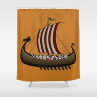 vikings Shower Curtains featuring Vikings by mangulica