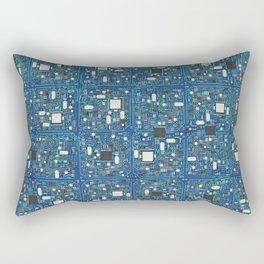 Blue tech Rectangular Pillow
