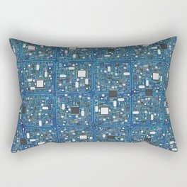 Blue tech Rectangular Pillow