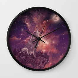 wolf and sky Wall Clock