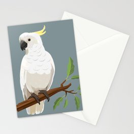 Cockatiel and Cockatoo diagonal pattern Stationery Cards