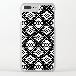 Aztec Symbol Pattern White on Black Clear iPhone Case