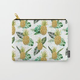 Summer tropical green yellow pineapple leaves watercolor floral Carry-All Pouch