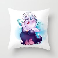 ursula Throw Pillows featuring Ursula by breakfastjones