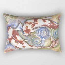 Koi Fish Watercolor Painting Rectangular Pillow