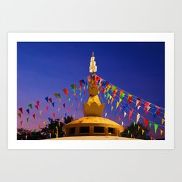 Colorful flags decorated the pagoda Art Print