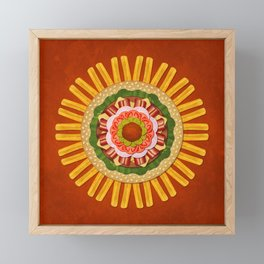 Bacon Cheeseburger with Fries Mandala Framed Mini Art Print
