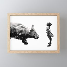 fearless girl statue, Wall street bull girl, Fearless girl statue, Feminist wall art gift Framed Mini Art Print