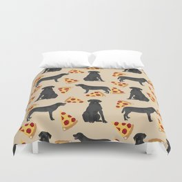 Black lab pizza dog breed pet portrait gifts for labrador retriever lovers Duvet Cover