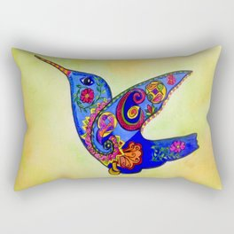 humming bird in color with green-yellow back ground Rectangular Pillow