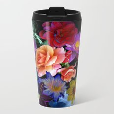 Colorful Fractal Flowers Metal Travel Mug