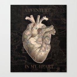 adventure heart-world map Canvas Print