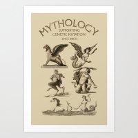 mythology Art Prints featuring Mythology by Andrea Orlic