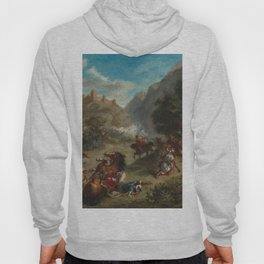 Arabs Skirmishing in the Mountains Oil Painting by Eugène Delacroix Hoody