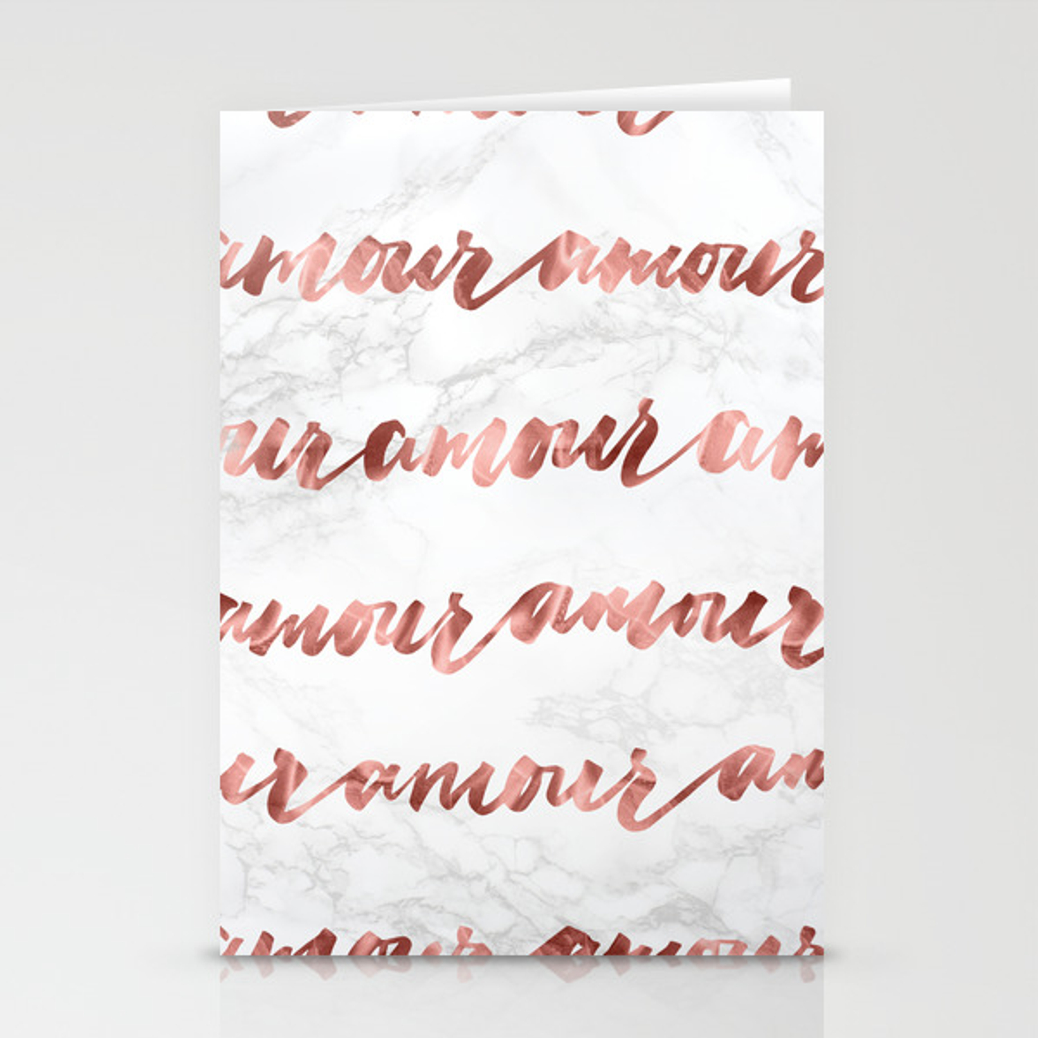 Amour Rose Gold Marble Love Quote Typography Stationery Cards By Naturemagick Society6