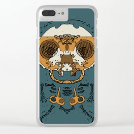 orange and brown skull and bone graffiti drawing with green background Clear iPhone Case