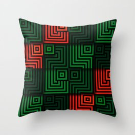 Red and green tiles with op art squares and corners Throw Pillow