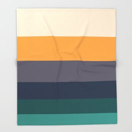 Mid Century Modern Minimalist Color Block Pattern Yellow Grey Green Throw Blanket