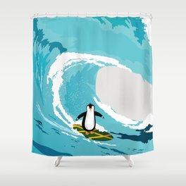 Surfing penguin Shower Curtain