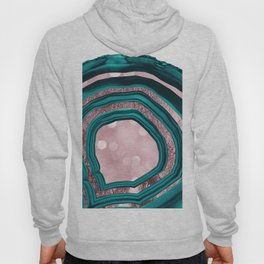 Agate Teal Rose Gold Blush #1 #abstract #shiny #decor #art #society6 Hoody