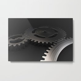 Set of metal gears and cogs on black Metal Print