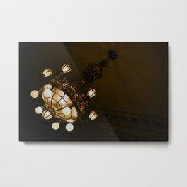 Circular Gold Illuminated Orb Hanging Chandelier Print Metal Print