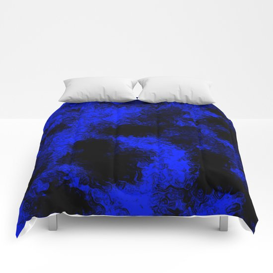 Blue neon and black modern decorative abstract design  Comforters