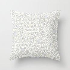 White Moroccan Tiles Pattern Throw Pillow