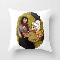 attack on titan Throw Pillows featuring A Nap on Titan by crowry