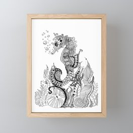 Zentangle Seahorse Framed Mini Art Print