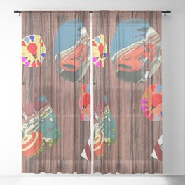 LOVE TRAVEL POSTCRDS N15 Sheer Curtain