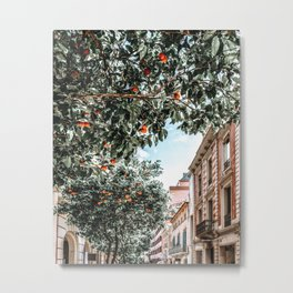 Orange Tree, Orange Fruits Print, Barcelona City Print, Oranges Art Print, Urban Travel Photography, Summer Tropical Print Metal Print