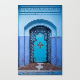 Blue Door in Chefchaouen, Morocco Canvas Print