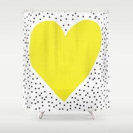 Yellow heart with grey dots around Shower Curtain