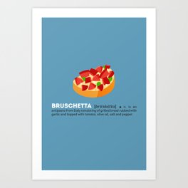 Bruschetta su Blu Art Print