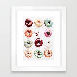 watercolor doughnuts Framed Art Print